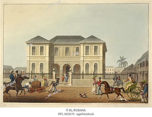 View of the court house. A gentleman riding a carriage. Two slaves transporting a barrel. Image taken from Ten Views in the Island of Antigua in which are...