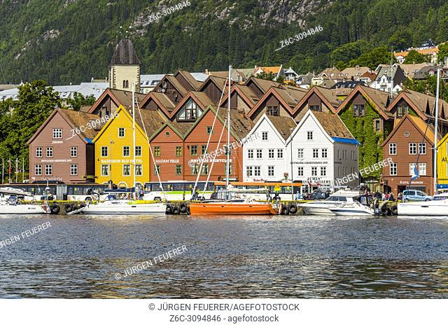Old Hanseatic buildings of Bryggen, Norway, front line panorama with port