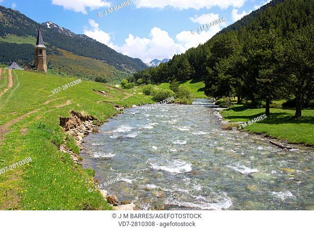 Noguera Pallaresa upper river course in Montgarri, Lleida, Catalonia, Spain