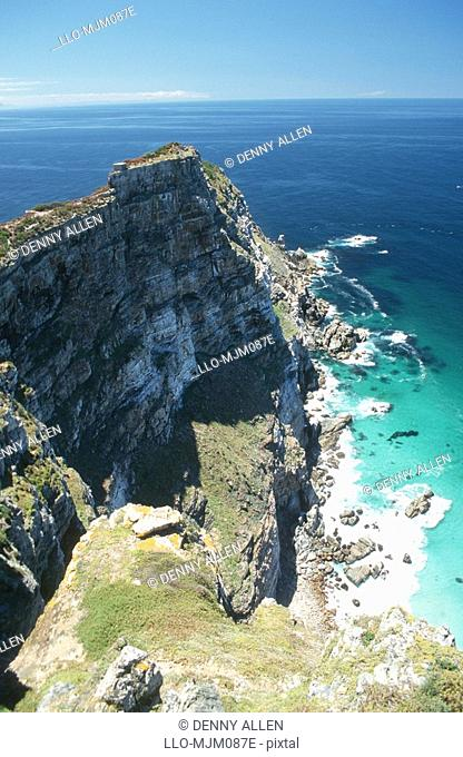Aerial view of Cape Point, Cape of Good Hope Nature Reserve, Western Cape Province, South Africa
