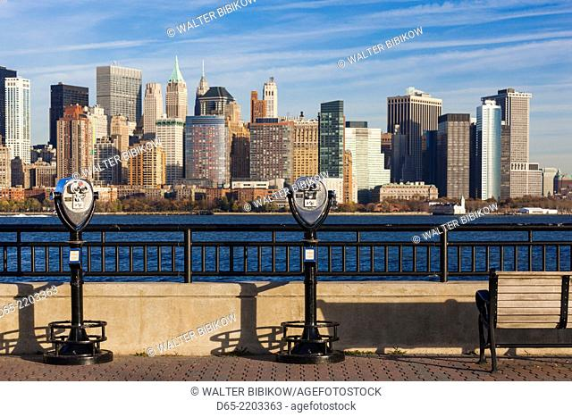 USA, New York, New York City, lower Manhattan skyline from Jersey City, late afternoon