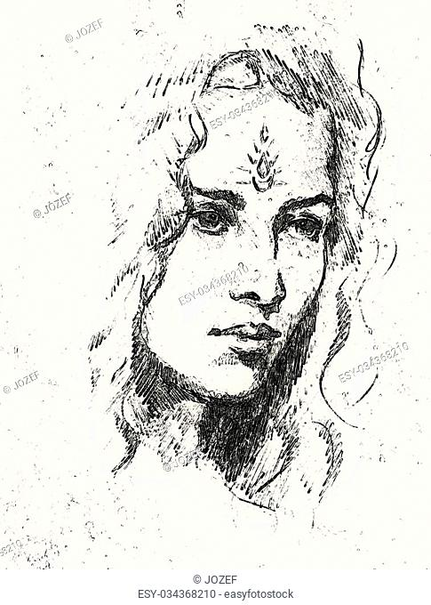 Drawing portrait Young woman with ornament on face, computer collage. Black and white