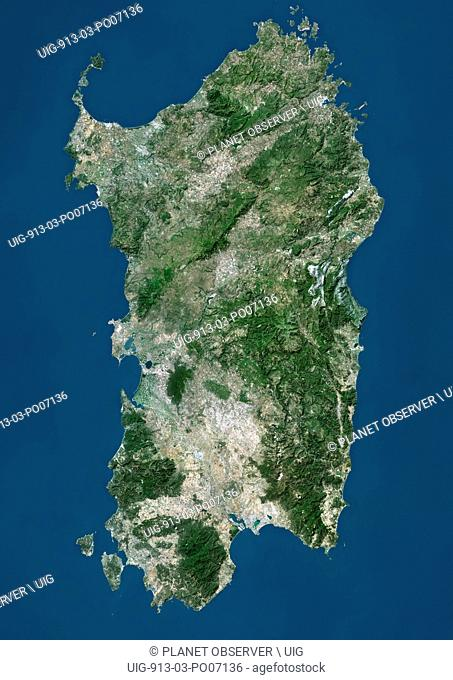 Satellite view of Sardinia, Italy. It is the second-largest island in the Mediterranean Sea. This image was compiled from data acquired by Landsat satellites