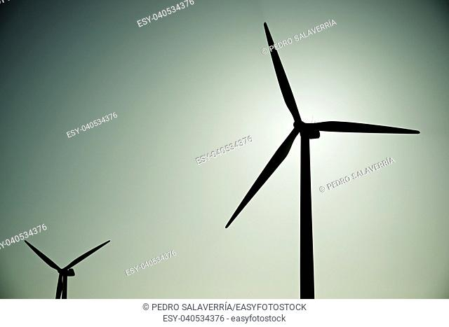 Windmills for electric power production, La Muela, Zaragoza Province, Aragon, Spain