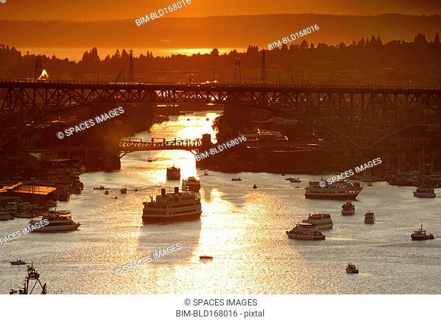 Aerial view of ships on Lake Union at sunset, Seattle, Washington, United States