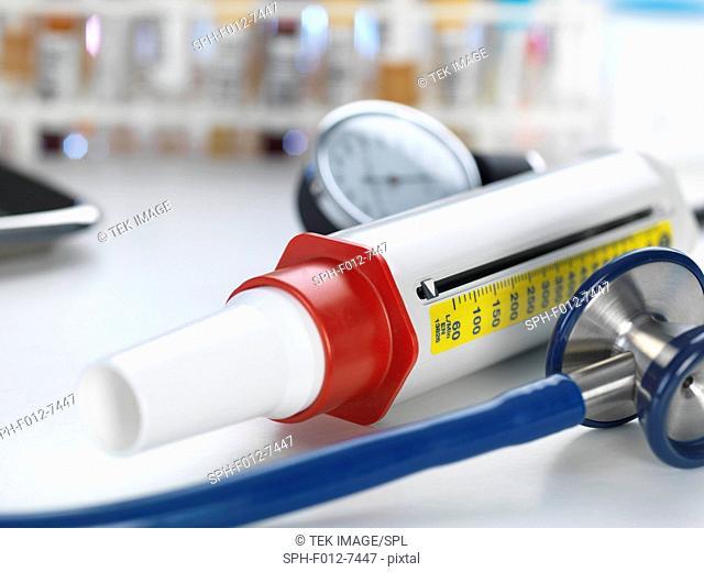 Medical instruments sitting on doctors desk