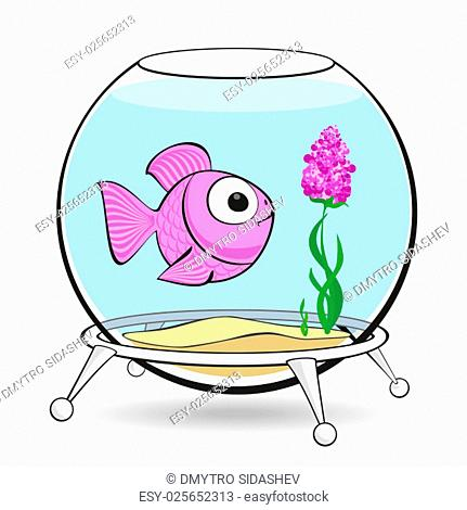 Lonely pink fish is looking at the flower in the aquarium
