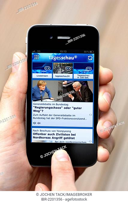 Iphone, smartphone, app on the screen, ARD Tagesschau, a German news magazine