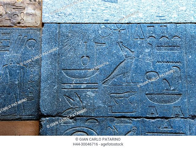Luxor, Karnak, Egypt, incised blocks making up part of the reconstructed red chapel or Chapelle Rouge of Queen Hatshepsut ( New Kingdom 1567-1080) in Open Air...