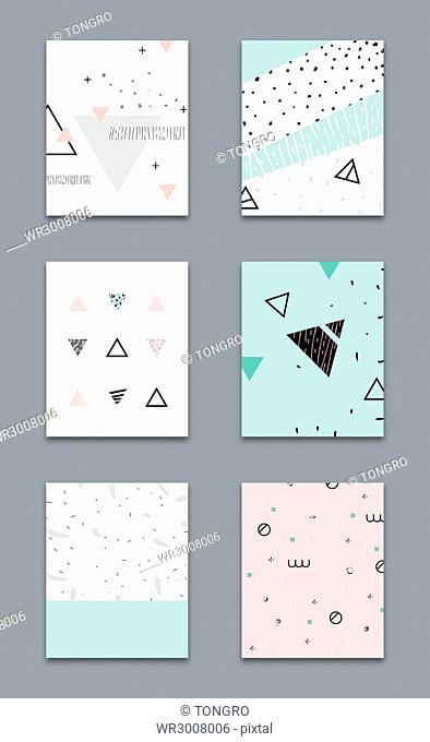 Brochure design with various creative geometric patterns