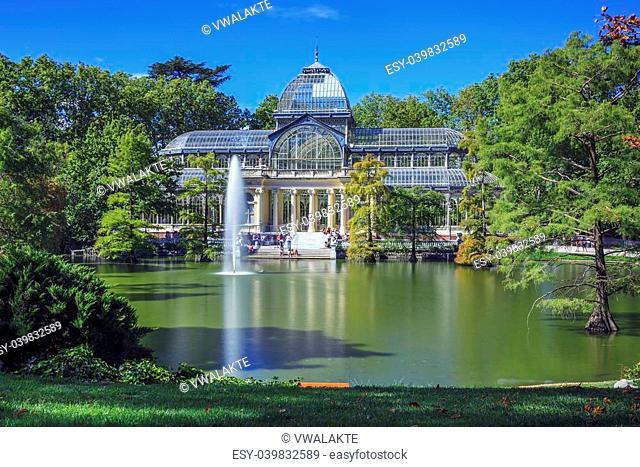 Famous Crystal Palace (Palacio de cristal) in Retiro Park,Madrid, Spain