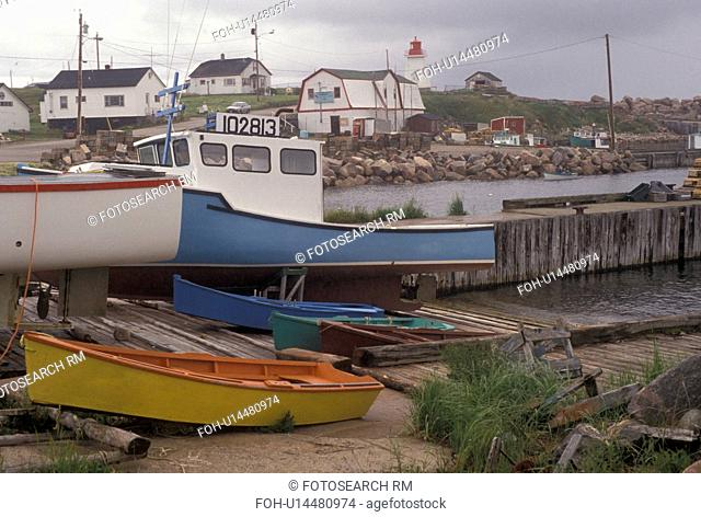 Cape Breton, Cabot Trail, Nova Scotia, NS, Canada, Atlantic Ocean, Scenic view of Neil's Harbor on Cape Breton Island on in Nova Scotia