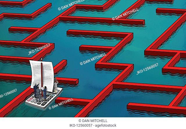 Business people navigating way through business finance maze