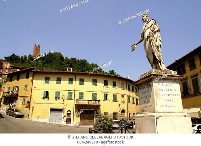 Buonaparte Square and Granduca Leopoldo II statue. San Miniato, Pisa province. Italy
