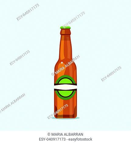 Attractive beer bottle on a blue background. Vector illustration
