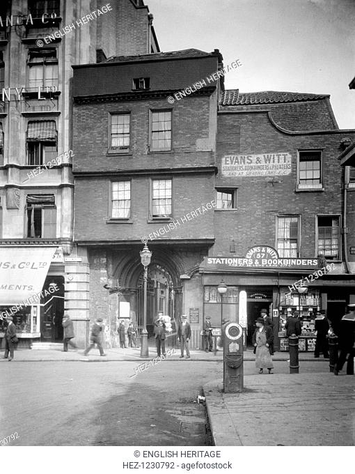 West Gateway leading to the Church of St Bartholomew the Great, West Smithfield, London, 1915. The West Gateway, timbered beneath its brick facade