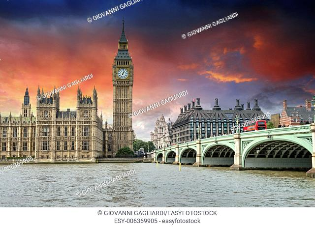 London. Beautiful view of Westminster Bridge and Houses of Parliament with Thames river