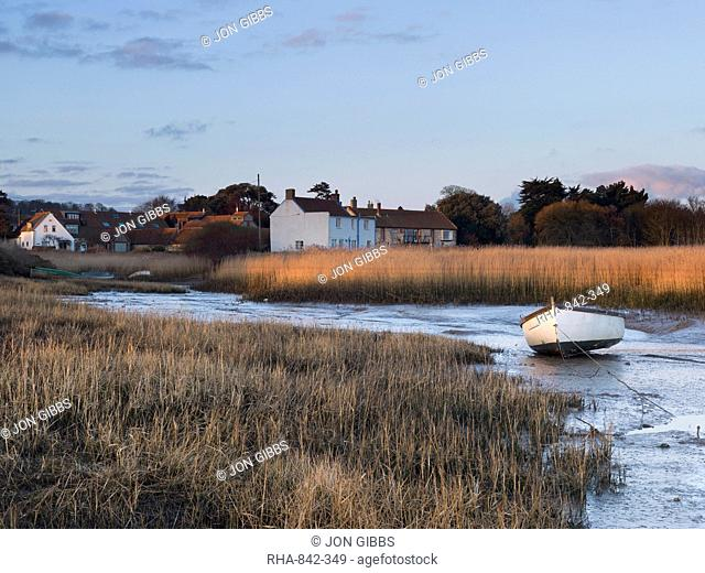 A winter morning view of Brancaster Staithe, Norfolk, England, United Kingdom, Europe