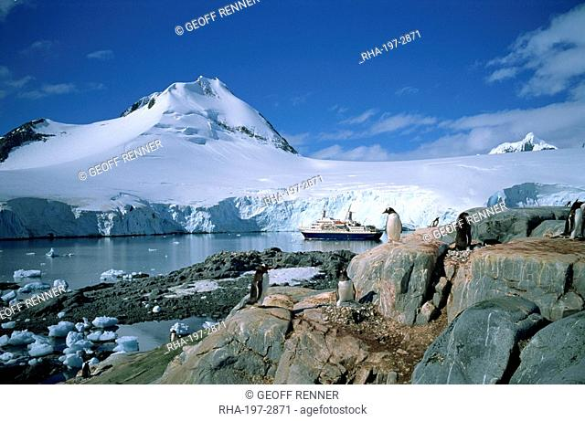 The cruise ship World Discoverer at anchor in Port Lockroy, once a Second World War British Station, now a post office, Antarctic Peninsula, Antarctica