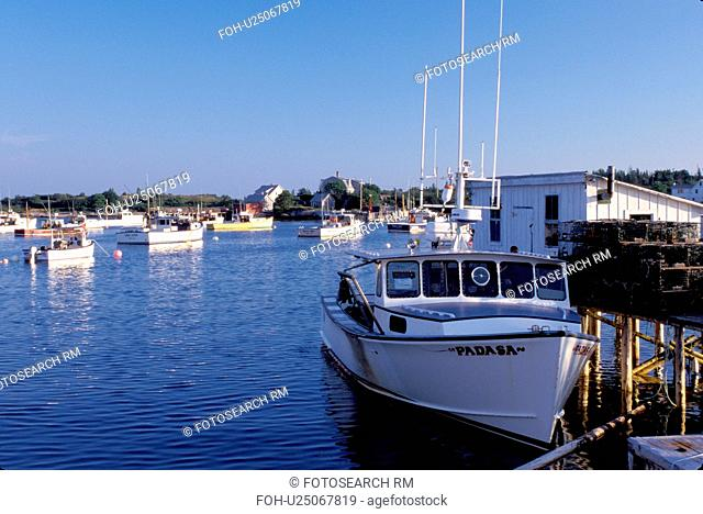 Maine, ME, harbor, Corea, Lobster boats in the harbor of the fishing village of Corea