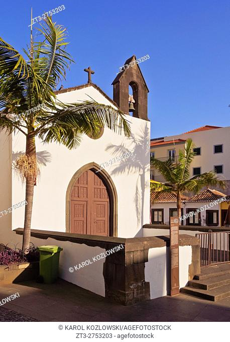 Portugal, Madeira, Funchal, View of the church on Largo do Corpo Santo.