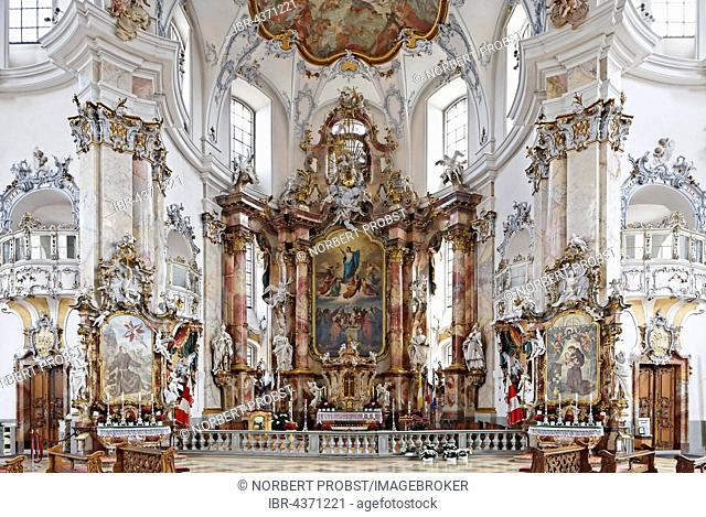 Chancel, baroque pilgrimage church, Basilica of the Fourteen Holy Helpers, Bad Staffelstein, Upper Franconia, Franconia, Bavaria, Germany
