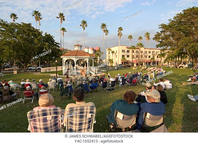 Free outdoor concert at the Gazebo in Ddowntown Venice, Florida