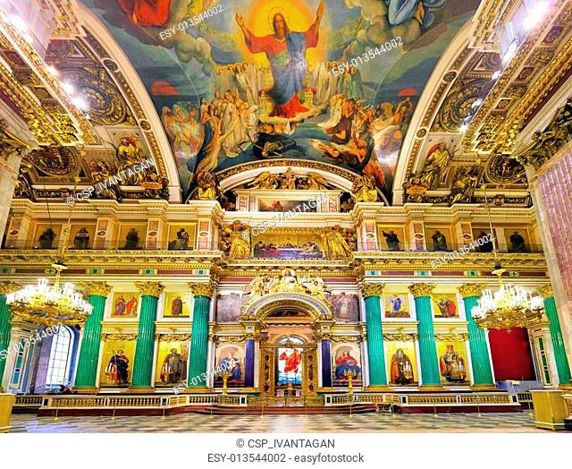 ST. PETERSBURG, RUSSIA FEDERATION - JUNE 29:Interior of Saint Isaac's Cathedral in St Petersburg, Russia . Picture takes in Saint-Petersburg