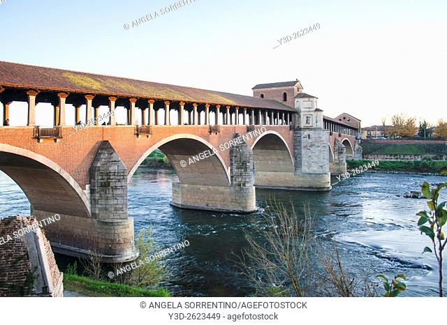 Covered bridge in Pavia, Italy