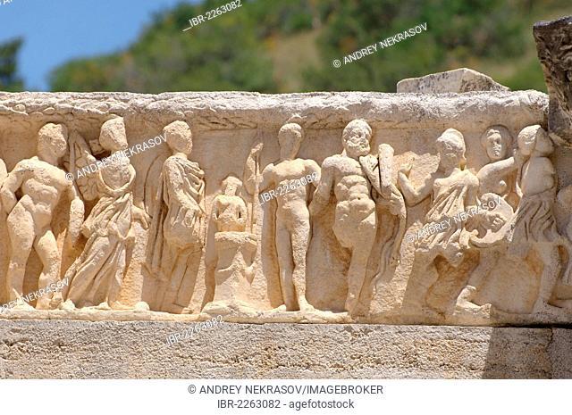Stone sculptures, antique city of Ephesus, Efes, Turkey, Western Asia