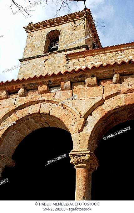 Arches and tower of the church of San Cipriano in Montejo de Tiermes, Soria province, Spain