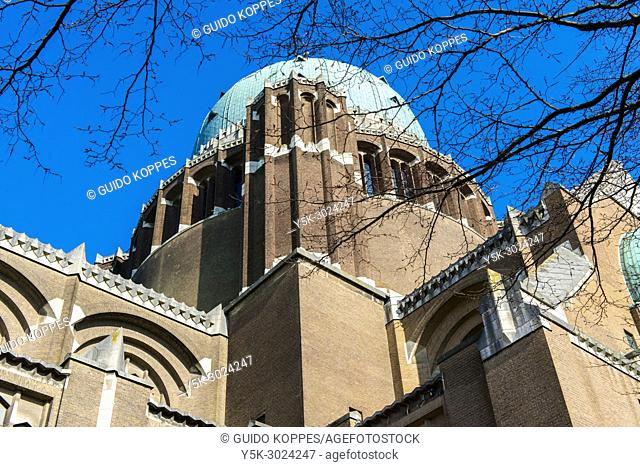 Brussels, Belgium. Exterior of the Iconic, National Basilica, Cathedral and Landmark at Koekelberg, named: 'Basiliek van Koekelberg' or 'Basilica of Koekelberg'