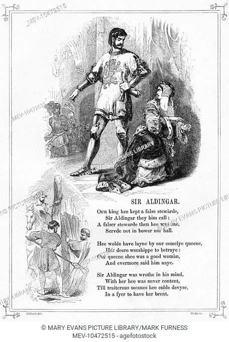 SIR ALDINGAR. Popular British Ballad, recounting the tale of a rebuffed Sir Aldingar who slanders his mistress (the Queen) by placing a leper in her bed for the...