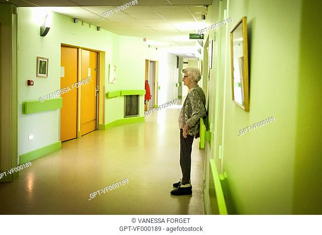 RETIREMENT HOME ILLUSTRATION, ELDERLY PERSON WAITING IN A CORRIDOR