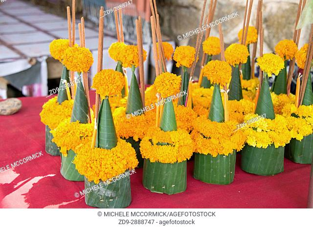 Floral offerings for sale, to be placed at the temple at Vat Sene, 2/16