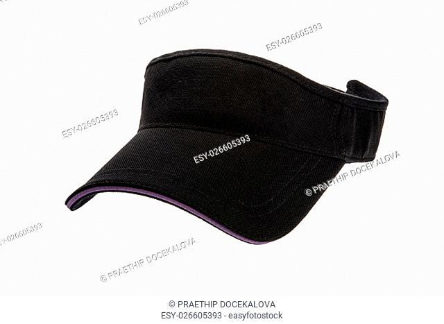 Men's black golf visors on white background