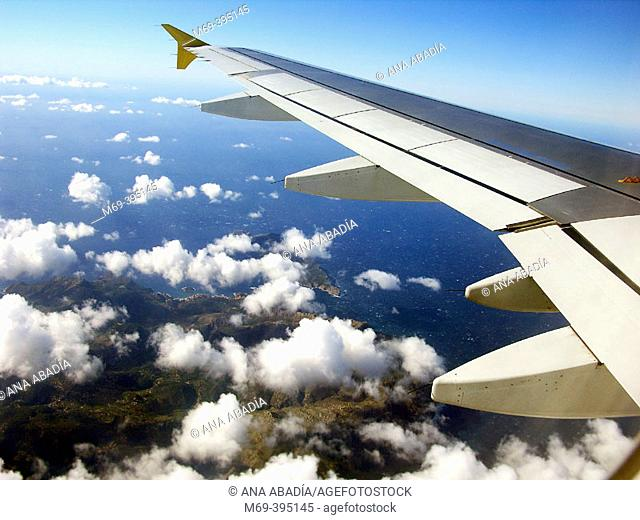 Serra de Tramuntana from the plane. Majorca Island. Balearic Islands. Spain
