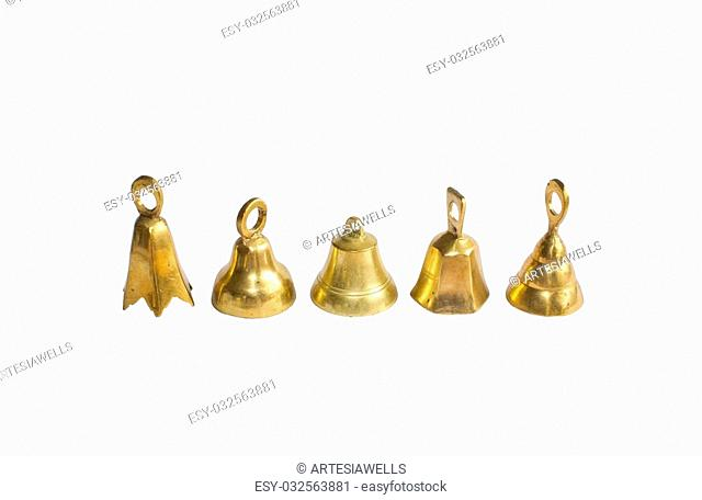 Brass bells Christmas decorations isolated on white