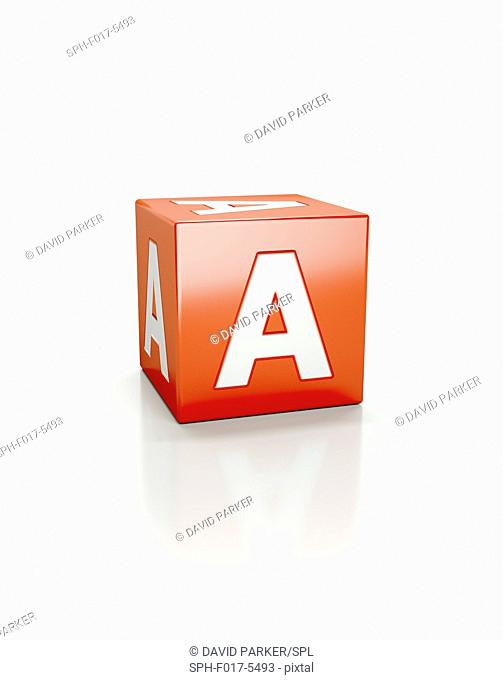 Red cube with the letter A
