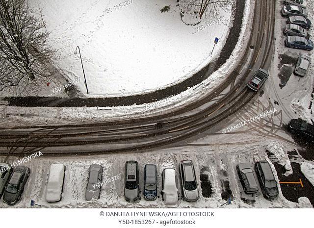 winter, snowed street in Geneva, Switzerland