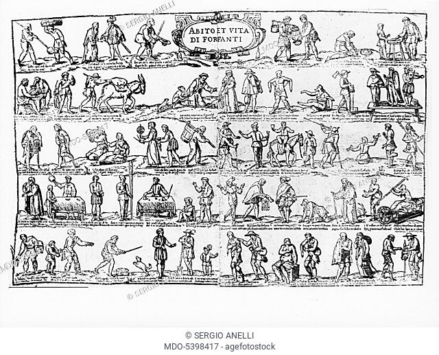Abito et vita di forfanti, 16th Century, xylography
