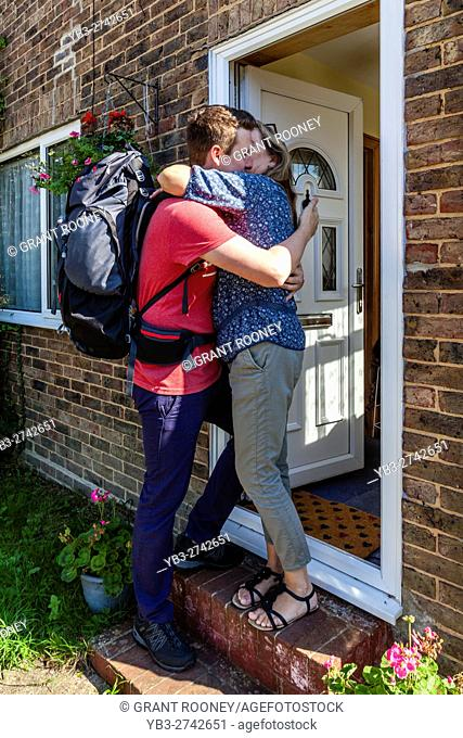 A Young Man Says Goodbye To His Mother To Go Travelling, Sussex, UK