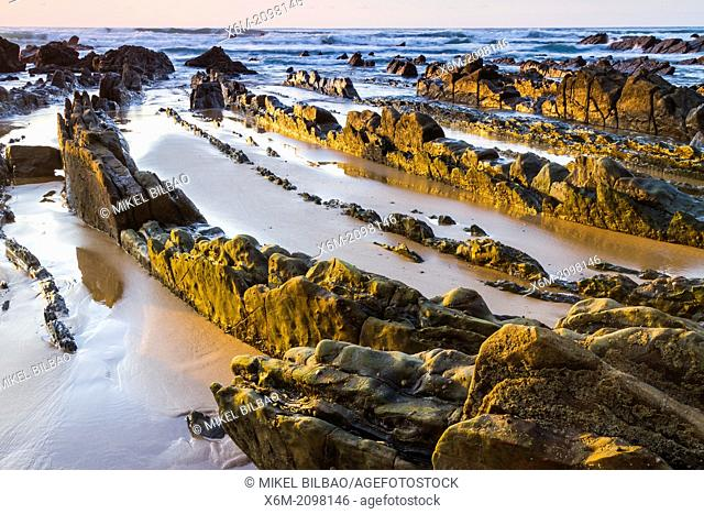 Barrika beach at sunset. Biscay, Basque Country, Spain