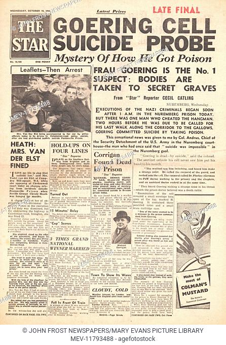 1946 The Star (London) front page Herman Goering commits suicide