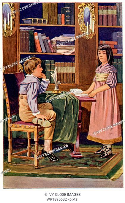 This illustration dates to 1902. It depicts a scene from The mill on the Floss, a novel published in 1860 by English author of the Victorian Age George Eliot...