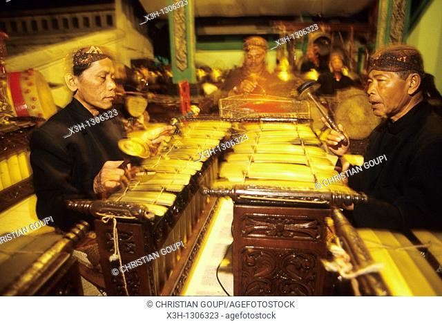 Gamelan's musician, traditional musical ensemble, Yogyakarta, Java island, Greater Sunda Islands, Republic of Indonesia, Southeast Asia and Oceania