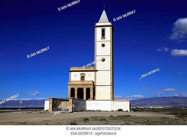 Historic church near Las Salinas, La Almadraba de Monteleva, Cabo de Gata national park, Nijar, Almeria, Spain
