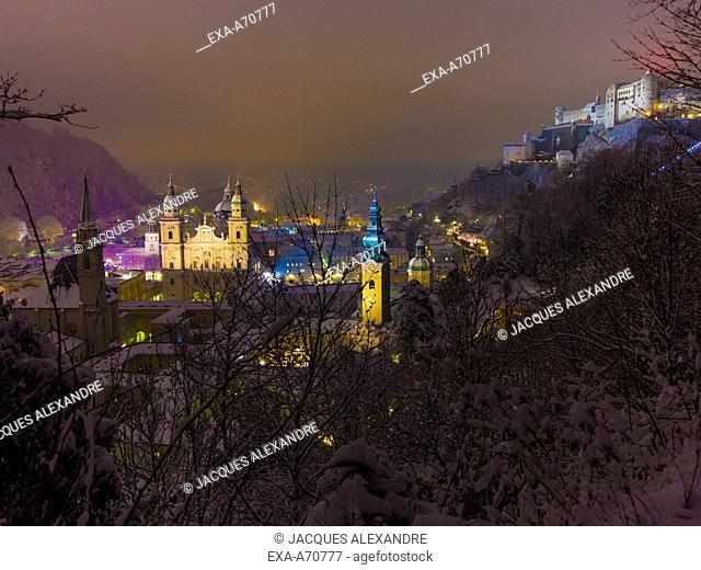 Panorama of Salzburg at night, Austria