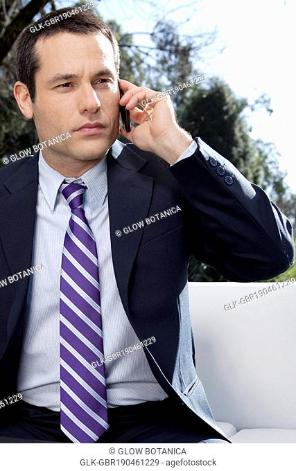 Businessman talking on a mobile phone in a park