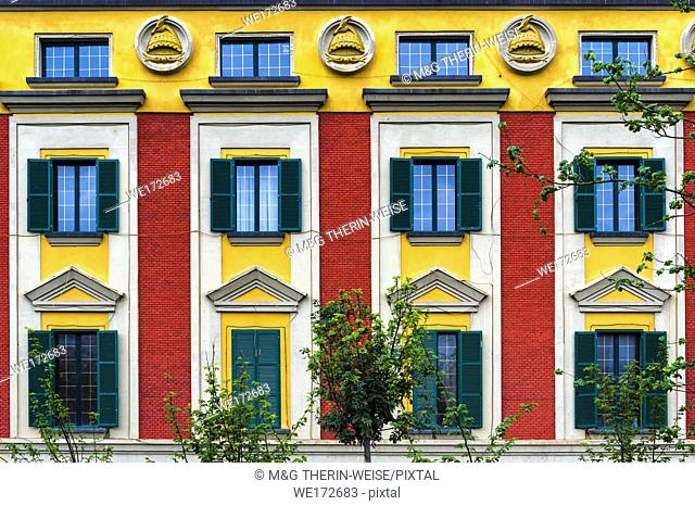 Colourful houses near Skanderberg Square, Tirana, Albania